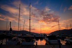 Puesta del sol en Oporto Montenegro Fotografía de archivo