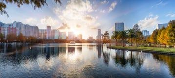 Puesta del sol en Orlando Foto de archivo libre de regalías