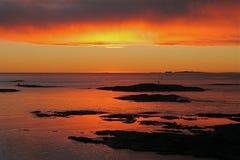 Puesta del sol en Oslofjord Foto de archivo