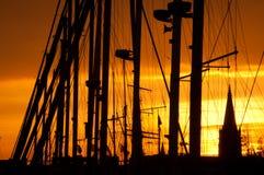Puesta del sol en Ostende imagen de archivo libre de regalías