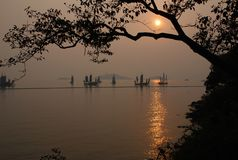 Puesta del sol en parque de la península de la Tortuga-cabeza Foto de archivo libre de regalías