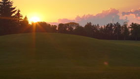 Puesta del sol en parque Fondo de la puesta del sol Establecimiento del tiro del parque del verano en la puesta del sol almacen de video