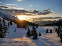 Puesta del sol en Passo Tonale Imágenes de archivo libres de regalías