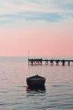 Puesta del sol en pequeño puerto Fotos de archivo libres de regalías