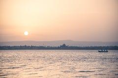 Puesta del sol en Plemmirio Fotografía de archivo libre de regalías