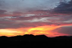 Puesta del sol en Popoyo Fotos de archivo libres de regalías