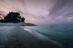 Puesta del sol en Portonovo Italia fotografía de archivo libre de regalías