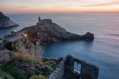 Puesta del sol en Portovenere Foto de archivo libre de regalías
