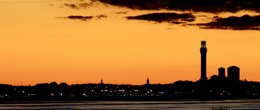 Puesta del sol en Provincetown, bacalao de cabo Fotos de archivo libres de regalías