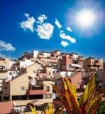 Puesta del sol en Puerto de la Cruz, Tenerife, España. Centro turístico turístico del hotel. Puesta del sol Fotos de archivo