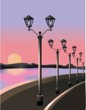 Puesta del sol en Quay Fotografía de archivo libre de regalías