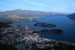 Puesta del sol en Queenstown NZ Imagen de archivo libre de regalías