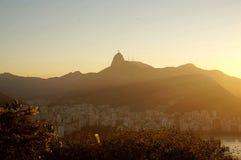 Puesta del sol en Río Foto de archivo libre de regalías