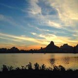 Puesta del sol en Rio de Janeiro Fotos de archivo