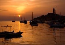 Puesta del sol en Rovinj fotografía de archivo
