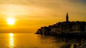 Puesta del sol en Rovinj Fotos de archivo libres de regalías