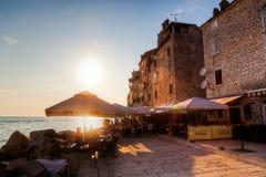 Puesta del sol en Rovinj, Croacia Imagen de archivo