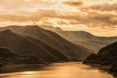 Puesta del sol en Rumania Fotografía de archivo libre de regalías