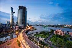 Puesta del sol en Saigon, Vietnam Imagen de archivo libre de regalías