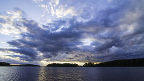 Puesta del sol en Saimaa Imagen de archivo