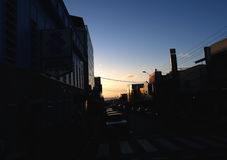 Puesta del sol en San Fernando, Trinidad imagenes de archivo