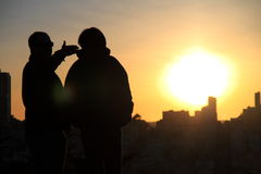 Puesta del sol en San Francisco Imagenes de archivo