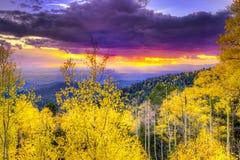 Puesta del sol en Santa Fe Ski Basin Imágenes de archivo libres de regalías