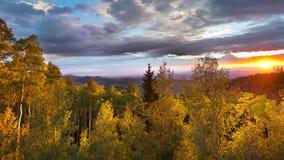 Puesta del sol en Santa Fe Ski Basin fotografía de archivo libre de regalías