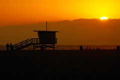 Puesta del sol en Santa Mónica Fotografía de archivo libre de regalías