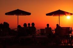Puesta del sol en santorini Fotos de archivo