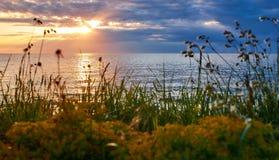 Puesta del sol en Savudrija, Croacia Imagen de archivo libre de regalías