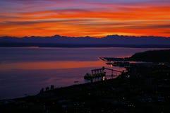 Puesta del sol en Seattle Fotografía de archivo libre de regalías