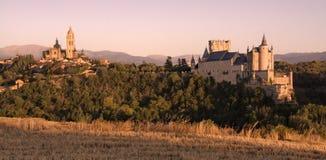 Puesta del sol en Segovia Imagen de archivo libre de regalías