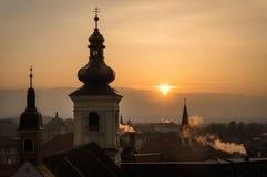 Puesta del sol en Sibiu Foto de archivo libre de regalías