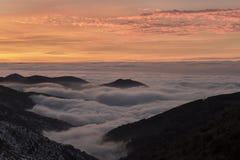 Puesta del sol en Sierra Nevada, Granada, España Imagen de archivo