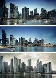 Puesta del sol en Singapur imagen de archivo