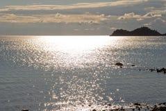 Puesta del sol en Skala Potamia Imagen de archivo
