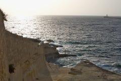Puesta del sol en Sliema, Malta Fotos de archivo