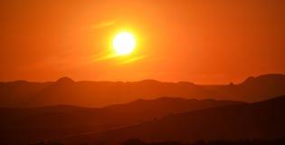 Puesta del sol en Spitzkoppe Fotografía de archivo libre de regalías