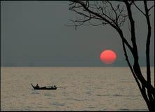 Puesta del sol en style-3 japonés Imagen de archivo libre de regalías