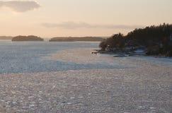 Puesta del sol en Suecia Imagen de archivo libre de regalías