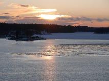 Puesta del sol en Suecia imagenes de archivo