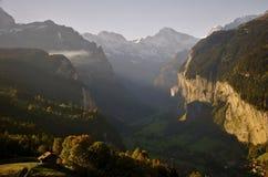 Puesta del sol en Suiza Imagen de archivo