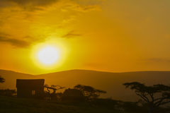 Puesta del sol en Suráfrica Foto de archivo