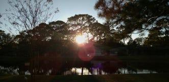 Puesta del sol en Tampa Foto de archivo libre de regalías