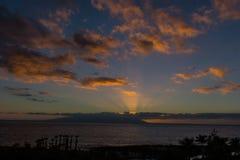 Puesta del sol en Tenerife Imagen de archivo libre de regalías