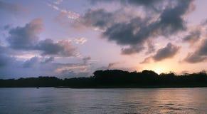 Puesta del sol en Tortuguero Foto de archivo libre de regalías