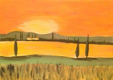 Puesta del sol en Toscana Imagen de archivo