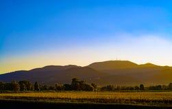 Puesta del sol en Toscana fotografía de archivo