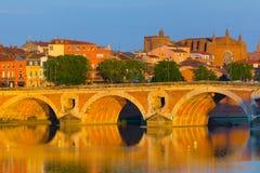 Puesta del sol en Toulouse Foto de archivo
